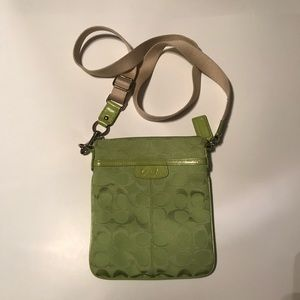 Coach Signature Crossbody purse. Lime color.